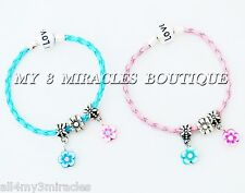 Girls Flowers Charm Bracelet Clay Braided Leather Pastel Child Christmas Gift
