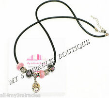 FOLLOW YOUR DREAMS Necklace Black Leather European Style Pink Inspire Christmas