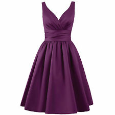 A Line Satin Empire Short Ball Gowns Cocktail Dresses Party Bridesmaid HD0003