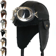 ililily Aviator Hat Winter Snowboard Fur Ear flaps Trooper Trapper Pilot Goggles