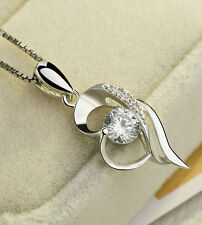 Fashion Sterling Silver S925 Drop Pendant Women's Crystal Heart Necklace Pendant
