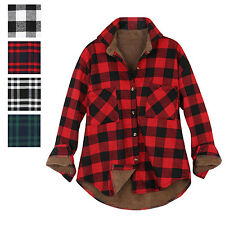 ililily Women Plaid Buffalo Checkered Sherpa Lined Flannel Shirt Trucker Jacket