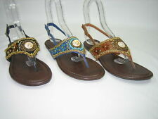 Qupid women's decorated bejeweled slingback flip flop thong sandals shoes