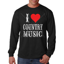 I Love Country Music Red Heart Long Sleeve T-Shirt