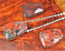 Brecciated Jasper Necklace - Petite Red Carved Gemstone - Faceted Pendant (V29)