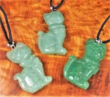 Cat Necklace - Aventurine Carved Gemstone Pendant - Green Crystal Jewelry (EE53)