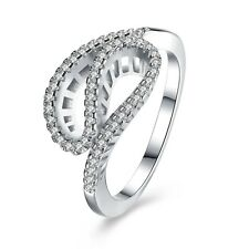 Ladies 925 Sterling Silver Gemstone Ribbon Wave Band Wedding Finger Ring Jewelry