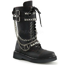 Demonia Rival-315 Black Chain Combat Boots - Gothic,Goth,Punk,Black,Boots,Buckle