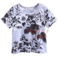 Boys Floral T Shirt Top Short Sleeved Tee Children Kids Clothes Age 2-9 Years