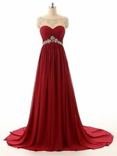 A Line Sleeveless Beading Bridesmaid Evening Dresses Formal Long Prom Gown HD002