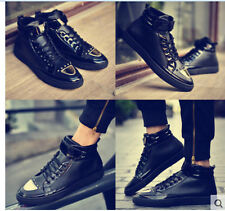 Men's Fashion Lace Up High Top Military Studded Dancing Athletic Sneakers Shoes