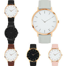 Women Men Simple Casual Watch Quartz Analog Gold Leather Band Wrist Watches New