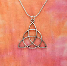 Large Triquetra Necklace 925 Stamped Silver Snake Chain Gift Boxed Same Day Ship
