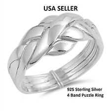 NEW Solid 925 Sterling Silver 4 Band Interlocking Puzzle Band Ring Rare sz 6-9