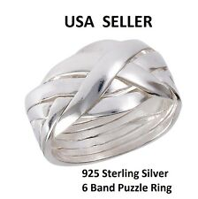 NEW Solid 925 Sterling Silver 6 Band Interlocking Puzzle Band Ring Rare sz 5-11