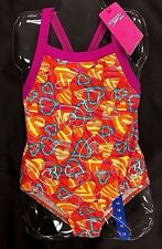GIRLS SPEEDO 1 Piece Red Hearts Swimsuit Bathing Racer Swim Suit SIze Variety