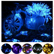 New 20 LED Solar Power Garden Decor Light Colorful Butterfly String Lamp Outdoor
