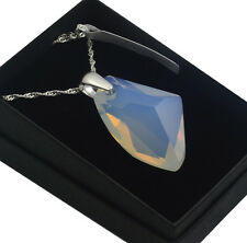925 Silver Necklace made with Swarovski Crystals * GALACTIC* White Opal
