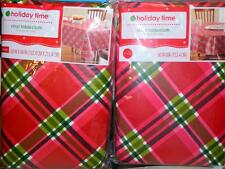 """Red Green Plaid Tablecloth Xmas Holiday 60"""" Round 52x90 Rectangle 60x102 Large"""
