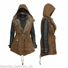 Womens Ladies Hooded Khaki Parka PU Sleeve Faux Fur Winter Jacket Coat SIZE 14