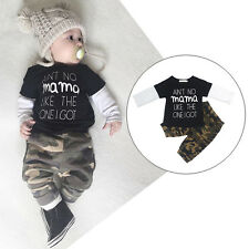 Camouflage Toddler Kids Baby Boys Outfits Clothes T-shirts Tops + Pants 2PCS Set