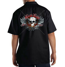 Dickies Mechanic Work Shirt Road Rage Choppers Skull Wings Motorcycle Biker