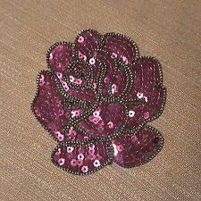 Purple Rose Sequins Flower Embroidered Patch Skirt Dress Jeans Iron-on Applique