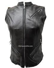 Motorcycle Ladies front zipper cow hide leather 7 pocket euro collar vest