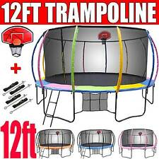 12ft NEW Round Trampoline FREE Basketball Set+Safety Net+Spring Pad Cover+Ladder