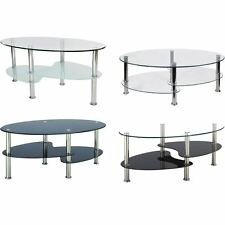 Cara Coffee Table Black Clear Frosted Oval Glass Top Stainless Steel Furniture