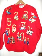 Retro Vintage styled nmbers 1 thru 12 days of Christmas Sweater sz M Tally Ho