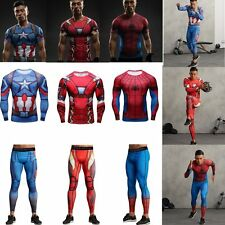 Marvel Superhero Men's Compression Leggings Long Pants Sports Cycling T-shirts