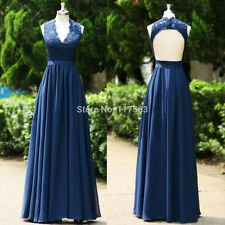 Navy Blue V Neck Lace Evening Formal Dresses Long Mother Of The Bride Gown HD043