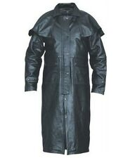 Black Buffalo Leather Long Duster Trench Coat Cape Allstate Leather AL2600 New
