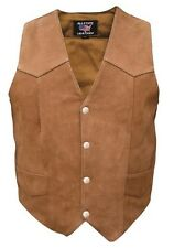 Ladies Premium Brown Buffalo Leather Motorcycle Vest Allstate Leather AL2316