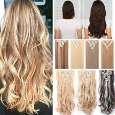 16/18Clips in on Full Head Hair Extensions As Human Hair straight curly wavy P98