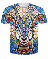 NEW 3D Trippy T Shirt Psychedelic Colorful Antelope Full Print Fashion Tee S M L