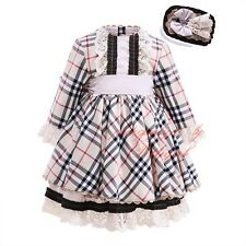 Girls Checked Lace Dress with Headband Long Sleeve Bow Princess Party Pageant