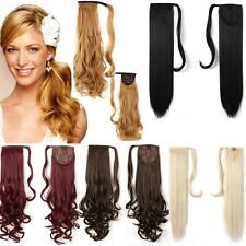 US Wrap Around Clip In On As Human Ponytail Hair Extensions Pony Tail Real Thick