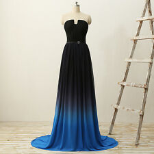 Sexy Black Blue Bridesmaid Evening Dress Plus Size Maid Of The Honro Gowns HD071