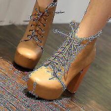 Womens Lace-up High Heels Wood High Heels Platform Ankle Boots Shoes 2014 Vogue