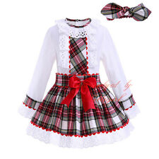 Girls Shirt Top + Tartan Skirts + Headband Set Christmas Party Princess Clothes