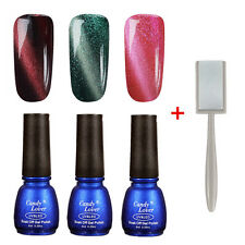 3pcs Cat Eye Magnetic Gel Nail Polish Soak Off  UV Gel Lacquer with magnet slice
