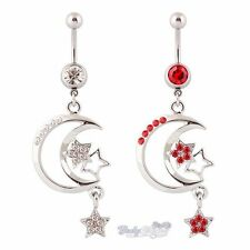 Belly Bar Navel Bars Rings Dangle Multi Moons and Stars CZ Gems Pave Stones 316L