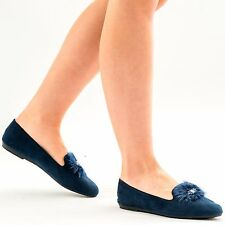 NEW WOMENS LADIES FLAT DOLLY SLIPPERS LOAFERS SLIP ON PUMPS  POM POM SHOES SIZE