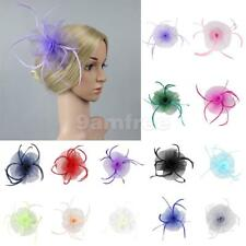 Net Flower Feather Fascinator Hairpiece Clip Wedding Races Parties Church Hat