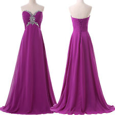 Strapless Long Purple Bridesmaid Evening Dresses Formal Gowns Crystal Gown HD059