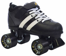 New! Black & White Riedell Volt Roller Derby Quad Speed Skates White Laces