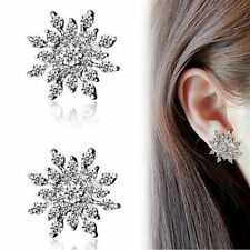 Lady Fashion Jewellery Elegant Crystal Rhinestones Snowflake Ear Stud Earrings Q