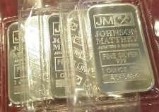 JOHNSON MATTHEY 5.0 OZ .999 PURE SILVER BAR(S) (QTY 5 - 1 OZ BARS) FACTORY SEAL!